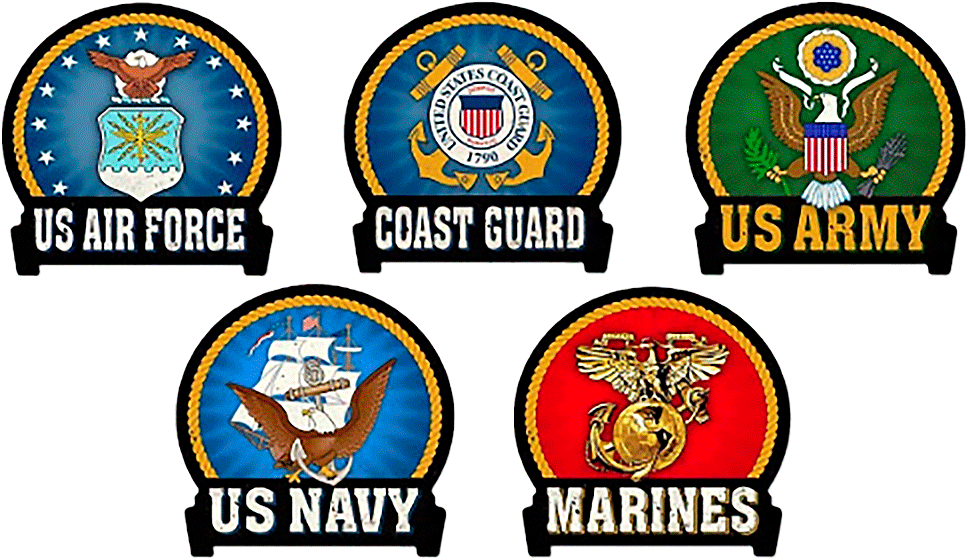 Logos of all branches of the military